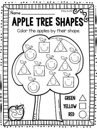 Apple tree ADORABLE color by shape worksheets that students will LOVE - perfect for fall back to school kindergarten and first grade activities