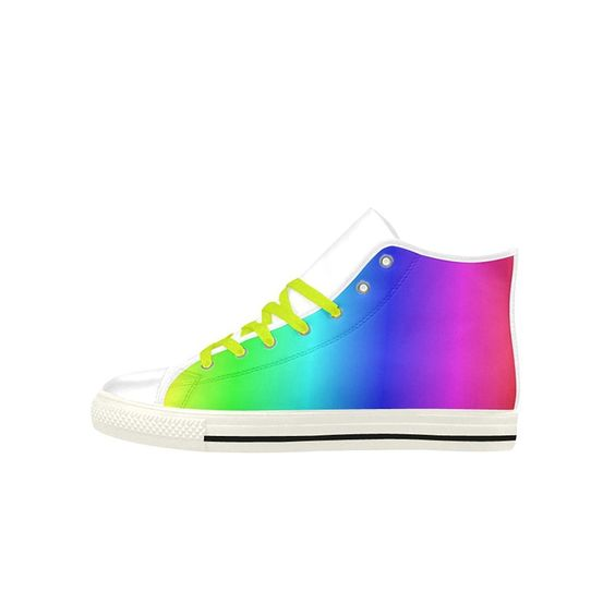 Custom Aquila Leather Shoes Crayon Box Ombre Rainbow Aquila High Top Action Leather Women's Shoes ** Be sure to check out this awesome product.