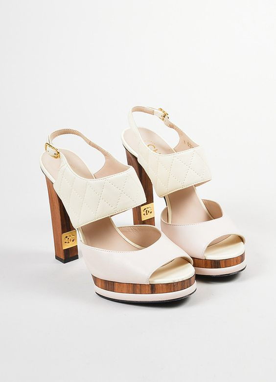 Pink, White, and Brown Chanel Leather and Wood Quilted Peep Toe Slingback Pumps