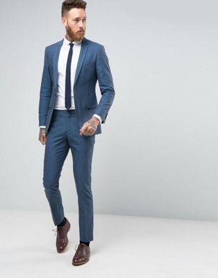 Number Eight Savile Row Skinny Suit in Micro Herringbone- groomsmen