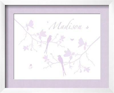 Modern Decor Nursery Art - Two birds on magnolia branches, chirping - In Lavender - With ADD A NAME option 8x10