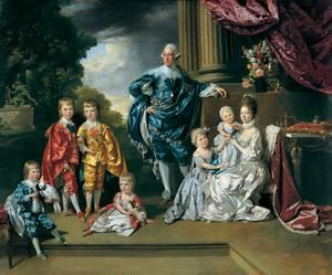 King George and Queen Charlotte with the six eldest children:George was a family man. He adored his children, except for George IV, and was known to romp with them on his hands and knees. He loved playing games with them and spoiling them, especially his daughters. He would even get on his hands and knees and give them pony rides, to the disgust of many courtiers who found his behaviour shocking and over indulgent.