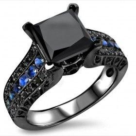 3.0ct 14K Black Gold Plated Black Princess Cut Blue Sapphire Diamond Engagement Ring (Free Shipping)