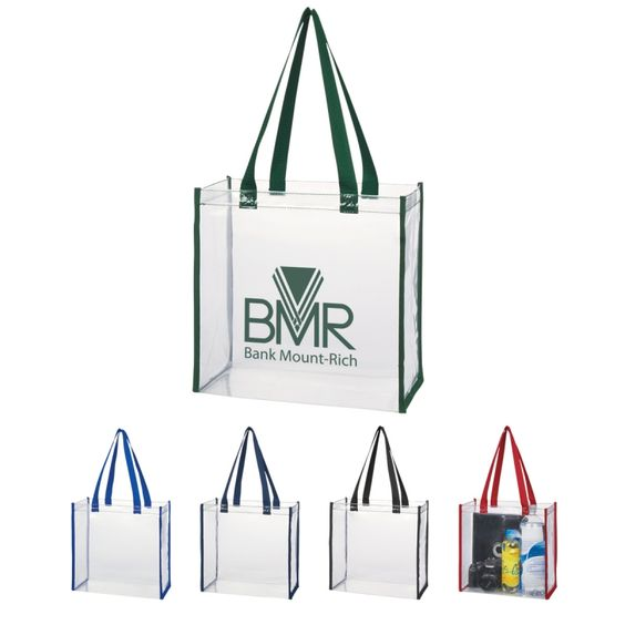 """NFL approved Clear Tote Bag featuring 22"""" handles."""