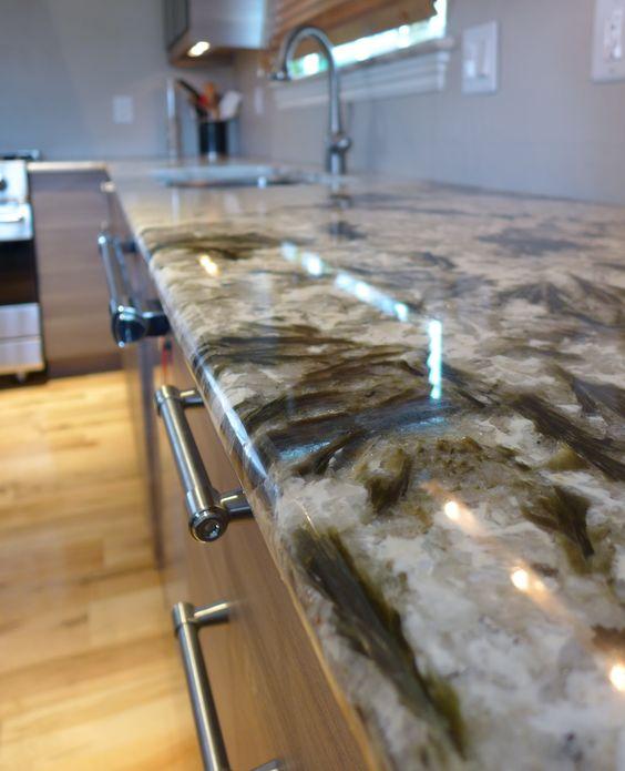 Rustic Kitchen Countertops: Alpine White Granite Countertop