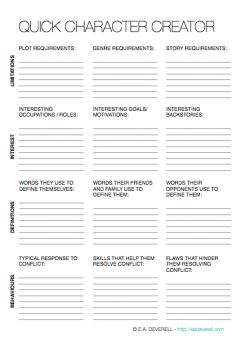 A quick writing worksheet for character creation. I use this all the time! | http://eadeverell.com/writing-worksheet-wednesday-quick-character-creator/?utm_content=bufferb64af&utm_medium=social&utm_source=pinterest.com&utm_campaign=buffer