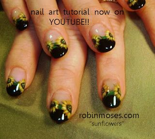 Nail-art by Robin Moses: NAILS MAGAZINE JUNE 2011 SUNFLOWER NAIL ART design, NEON ARROW nail art design, mermaid nail art, button eyed doll nail art, button eyes emo goth painting, button eye doll painting nails art design