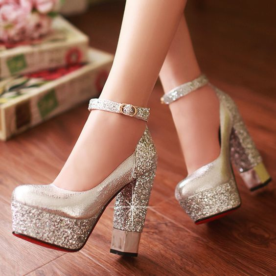 Bridal shoes gold and silver red bottom shoes 6 women high heels ...