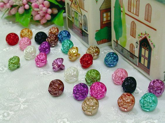 Button Pearl Rose flower shape 14 mix colors assorted by ByJuliet, $6.50