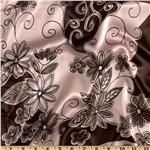 FO-551 Charmeuse Satin Floral Pink/Brown