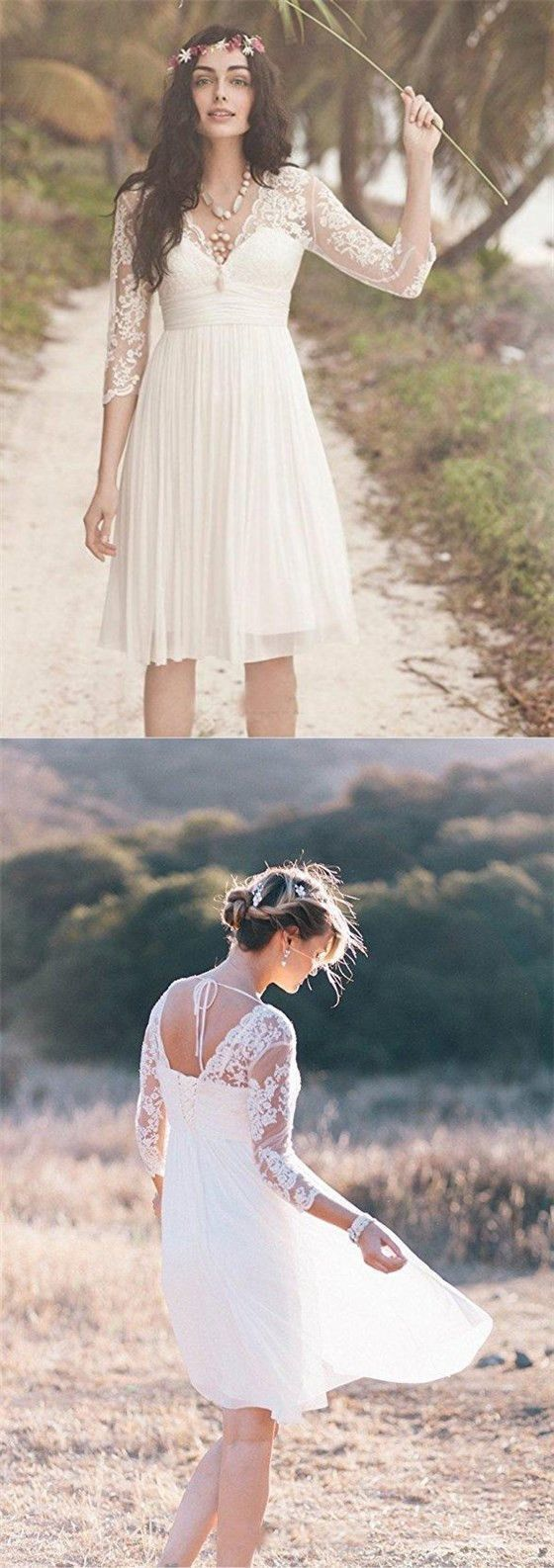 Long Sleeve Lace Short Beach Wedding Dresses By Rosyprom 185 91 Usd Short Wedding Dress Beach Long Sleeve Short Wedding Dress Wedding Dress Long Sleeve [ 1586 x 560 Pixel ]