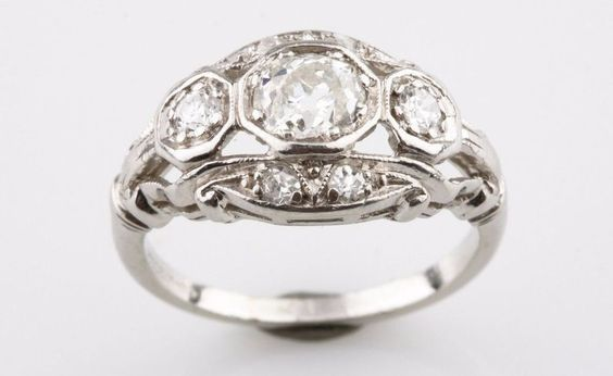 Vintage Platinum Round Brilliant Shape Cut 3 Stone Diamond Engagement Ring* #SolitairewithAccents