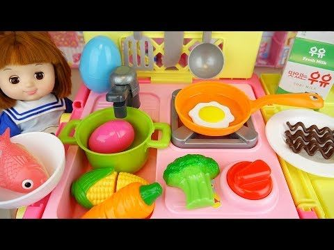 Baby Doll Kitchen Food Cooking Surprise