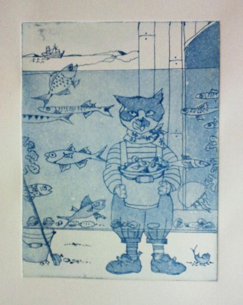"""""""After Fishing"""" by Mie Takase  /etching"""