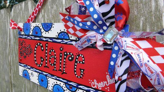 Cheerleader Personalized Door Sign. $40.00, via Etsy.