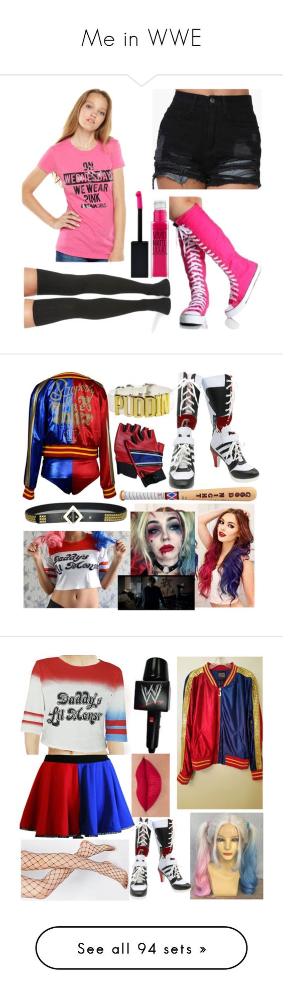 """""""Me in WWE"""" by amesqueda ❤ liked on Polyvore featuring Converse, Peony & Moss, Maybelline, Miss Me, Swat, ASOS, WWE, Boohoo, Preen and Durango"""