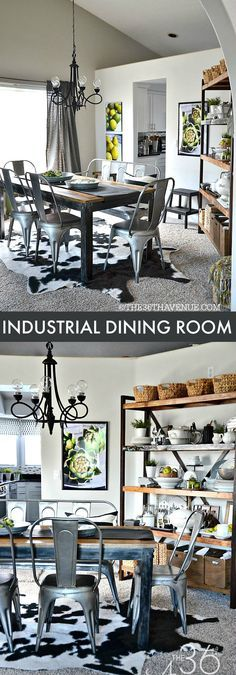 Home Decor - Industrial Dining Room Decor at the 36th Avenue.  Click on pin fo more ideas.