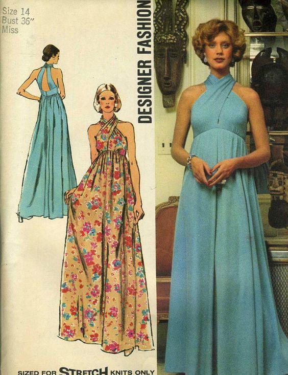 Vintage Simplicity 5364 UNCUT Misses Criss Cross Halter Maxi Dress ...