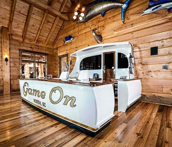 Man cave made from boat parts  #diy #salvage #boats #idea #repurposed #boat #transform #transformation #mancave #bar #seating #salvageboats #auction