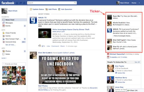 How to hide the Facebook ticker    http://howto.cnet.com/8301-11310_39-20109500-285/how-to-hide-the-facebook-ticker/