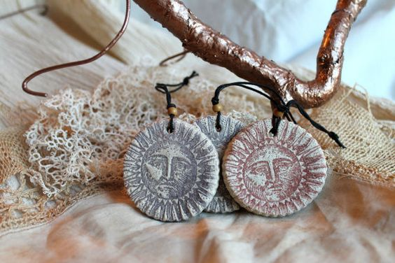 Hand-Made Stamped Sun Salt Dough Ornaments Set of by TheClockworks