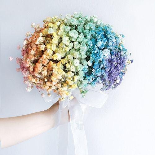 Features Colourful Baby S Breath Wedding Bouquet Min 3 Days Order In Advan Bridal Wedding Flowers Babys Breath Bouquet Wedding Wedding Theme Color Schemes