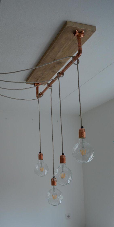 Hanglamp met gloeilampen en strijkijzersnoer | pendellamp met koper | LED | Lamp 'Allicht' van VanStoerHout: