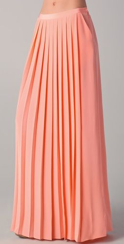 Shopbop...Tibi...Maxi Pleated Skirt...Neon Orange...100% Silk