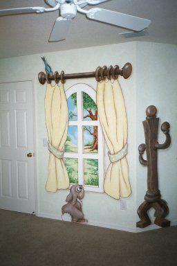 Cartoon Trompe l'oeil Window