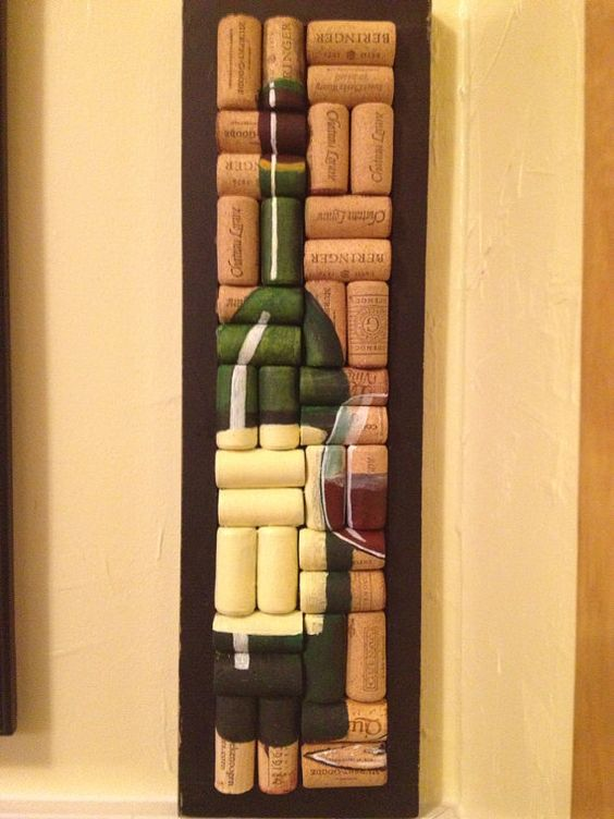 hand painted wine bottle and glass on corks.