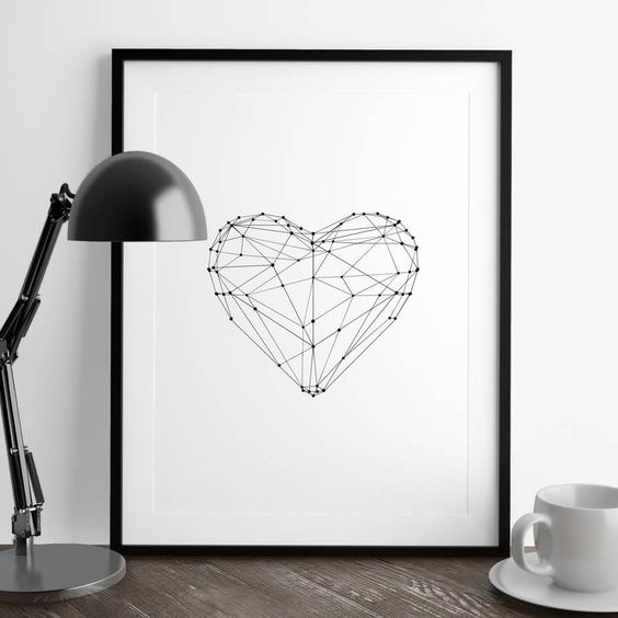 Polygon Love Heart http://www.amazon.com/dp/B0176N9TE6   motivationmonday print inspirational black white poster motivational quote inspiring gratitude word art bedroom beauty happiness success motivate inspire