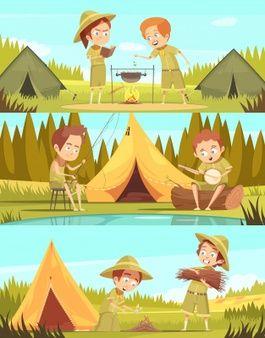 Campamento De Verano Para Ninos Exploradores Actividades 3 Pancartas Horizontales De Dibujos Animados Ninos Exploradores Ilustracion Vectorial Dibujos Animados