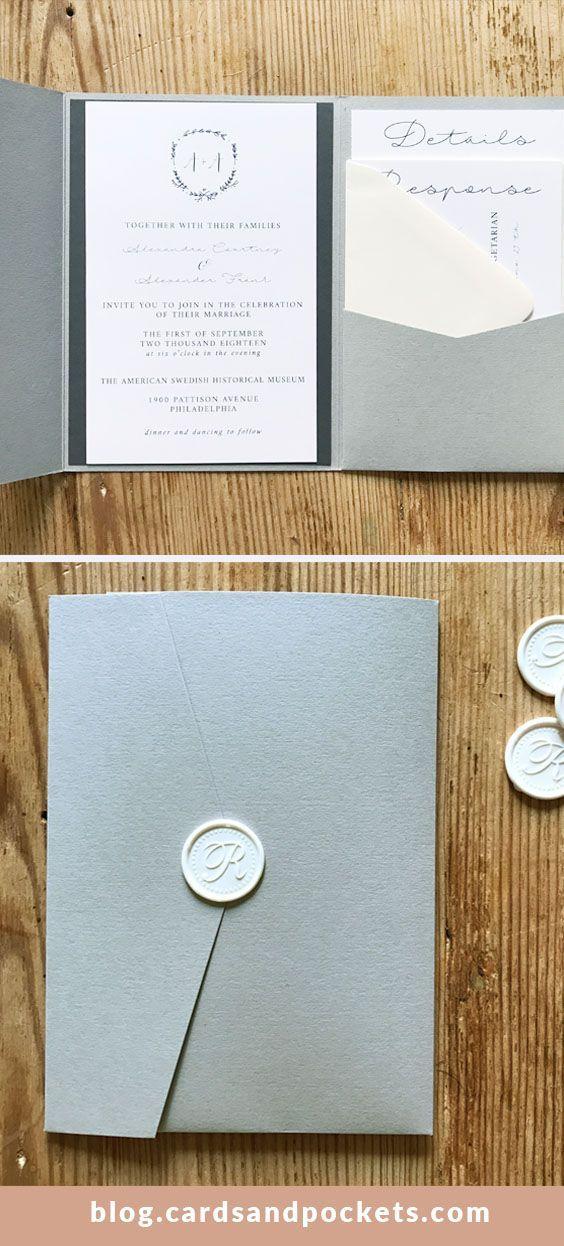 Diy Pocket Invitations With Neutral Wedding Colors Gray Pocket Folder Monogram In Pocket Wedding Invitations Monogram Invitation Wedding Invitation Envelopes