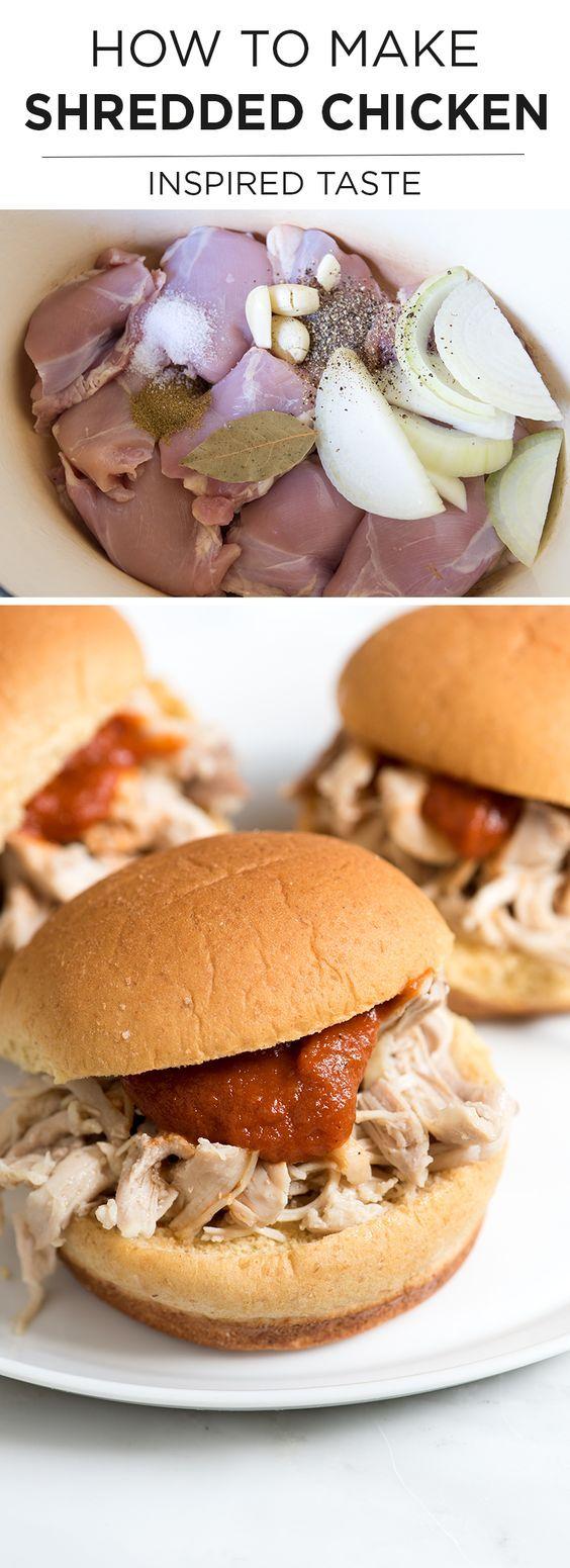 How to make Tender, Flavorful Shredded Chicken for sandwiches, tacos and enchiladas. | inspiredtaste.net @inspiredtaste