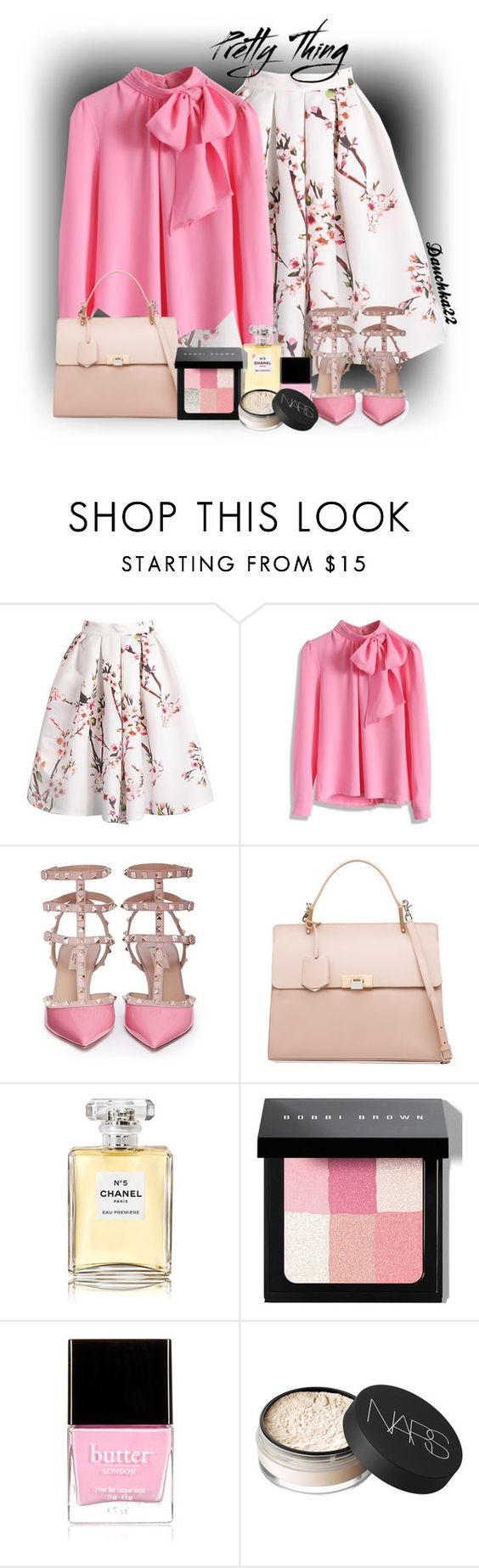 """Pretty Thing"" by dauchka22 ❤ liked on Polyvore featuring Chicwish, Valentino, Balenciaga, Chanel, Bobbi Brown Cosmetics, Butter London and NARS Cosmetics"