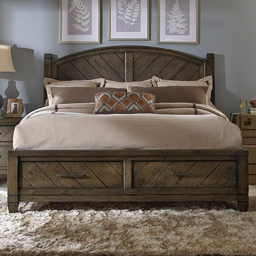 Liberty Furniture Modern Country Casual Rustic King Bed With Storage Footboard Furniture