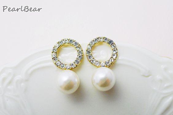Pearl White Earrings 珍珠 水鑽 貼耳耳環
