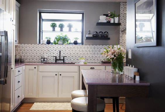 Episode 1: Pretty in Pink: Home Kitchen, Decor Ideas, Kitchen Design, Geometric Tile, Pink Countertop