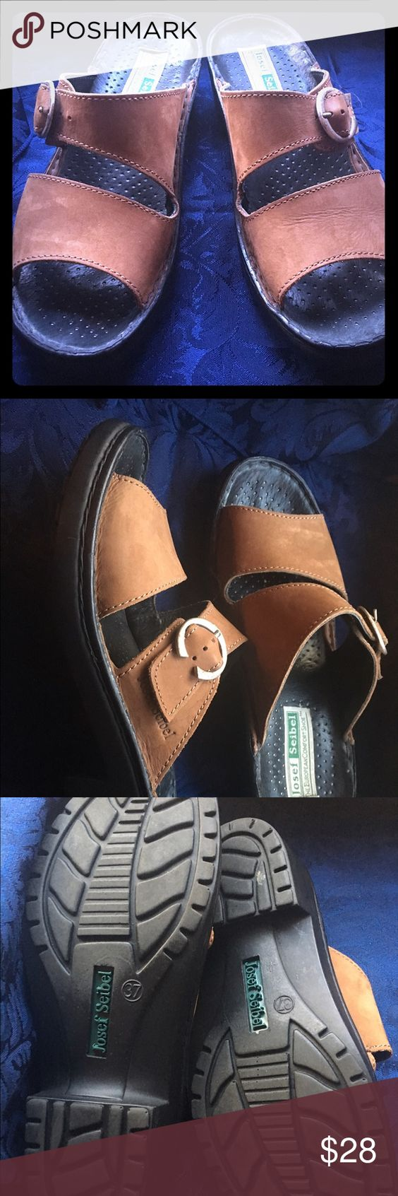 Josef Seibel brown leather sandals size 37 Some wear but still very comfortable and the soles are in great shape! Size 37. Brown leather with a side buckle. Perfect for fall walks in the park! Josef Seibel Shoes Sandals