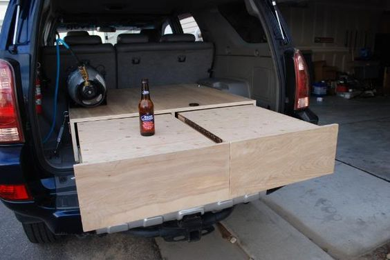 camping box trunk fold out bed platform - Google Search