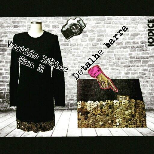 Vestido Iódice  Tam M  Barra lantejoulas douradas Luxo!!!    Obs: Atendimento com hora marcada  ☎ WhatsApp  + 55 31 8729-0249  #uohbrecho #moda #instagood
