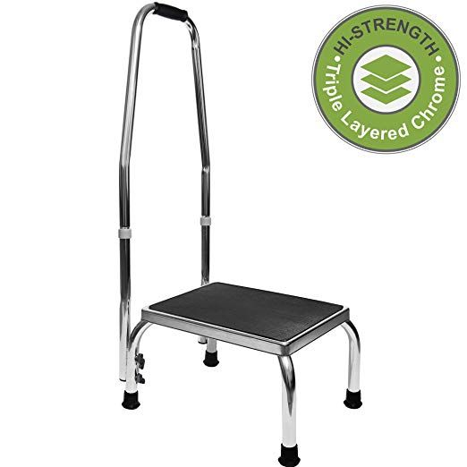 Vaunn Medical Foot Step Stool With Handle And Anti Skid Rubber