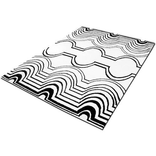 teppich design wollte 170 x 240 weiss schwarz. Black Bedroom Furniture Sets. Home Design Ideas