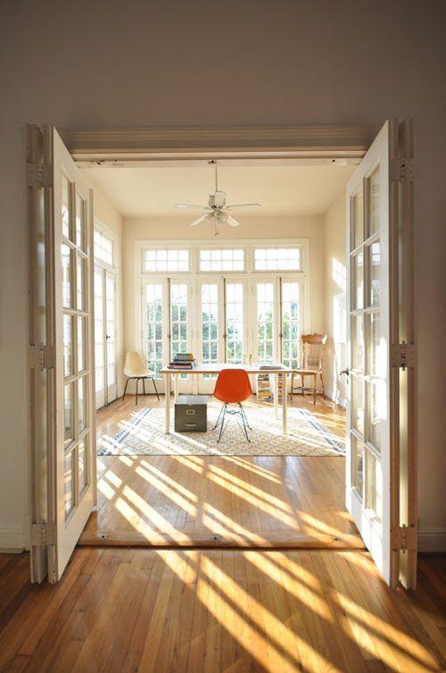 Sunroom: Natural Light, French Doors, Workspace, Home Office, Sun Room, Sunroom