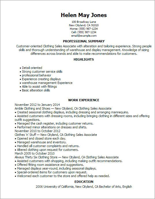 Retail Sales Associate Resume Examples Well Designed 1 Clothing
