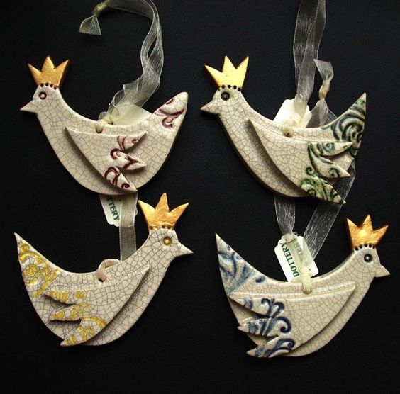 Set of four Xmas bird decorations