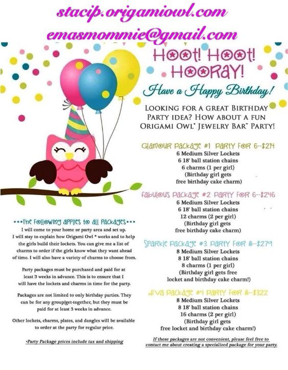 Birthday Party Packages www.stacip.origamiowl.com  #origamiowl