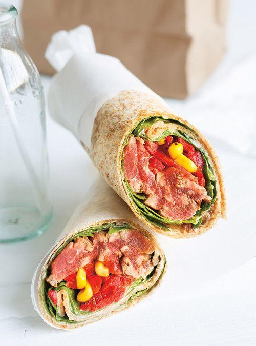 Wrap au boeuf et aux poivrons grillés (avec reste de la recette de steak minute et salade d'avocat)
