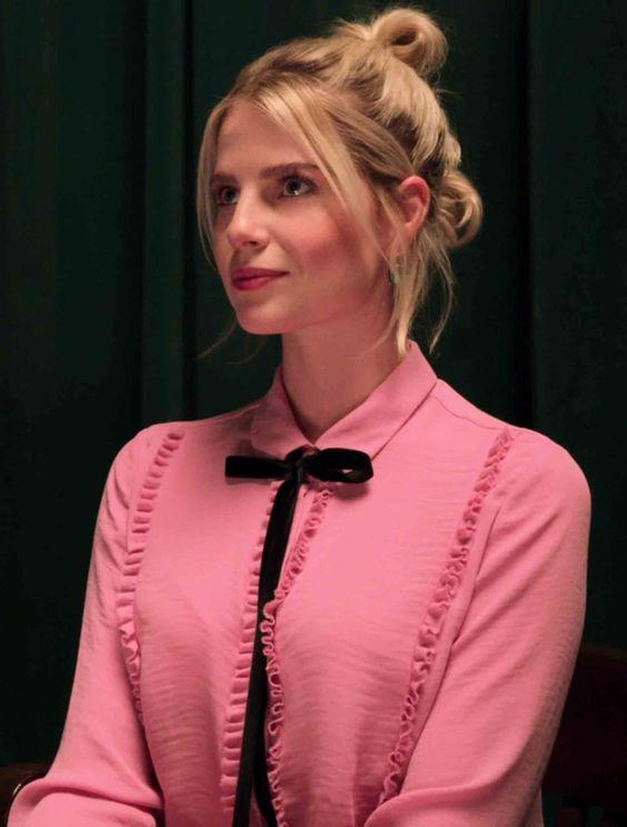 Astrid Sloan in a Fernweh blouse on The Politician season 1