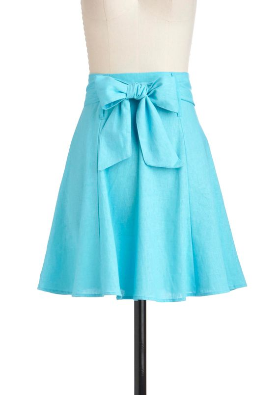 Musée Cantini Skirt - Mid-length, Blue, Solid, A-line, Belted, Casual, Summer
